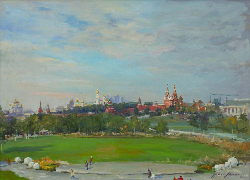 Вид на Кремль со стороны парка Зарядье